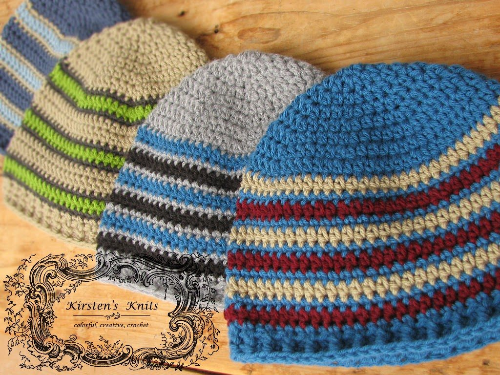 Striped men's beanies. Look at all the color combinations!