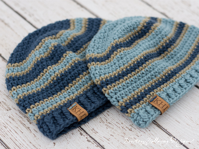 Striped men's hat patterns for charity in 2 sizes.