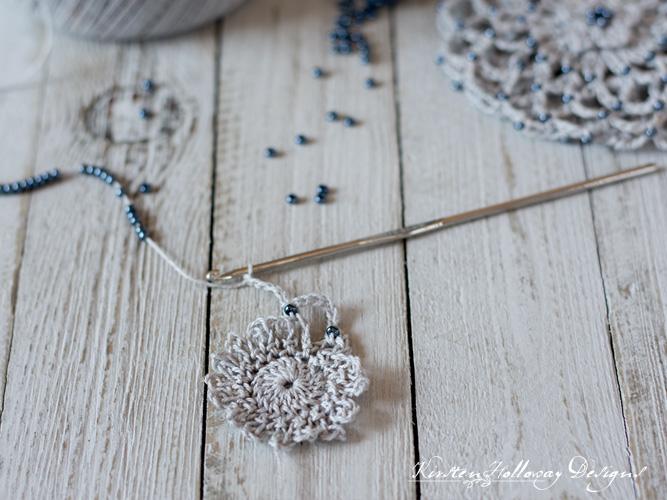 A beautifully beaded bun cover hair accessory: bead detail.