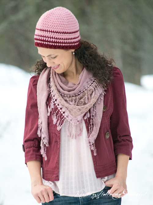 Cherry Stripe Women's Beanie Easy Crochet Hat Pattern