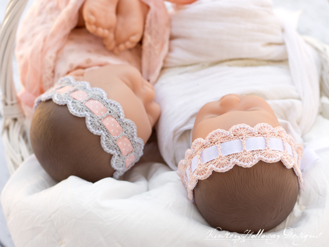 Different ribbons add a different look to your crochet baby headband.