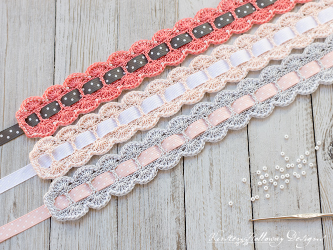 Baby crochet headbands showing different ribbon choices.