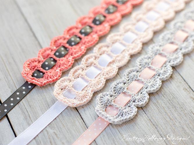 Close-ups of headbands with ribbons.