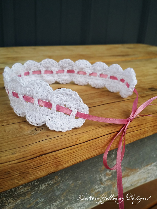 Pattern – Scalloped Lace Heirloom Headband 0-6 months
