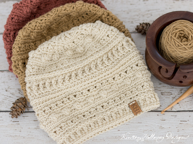 Sugar and Spice textured slouch hat crochet pattern for women and teens.
