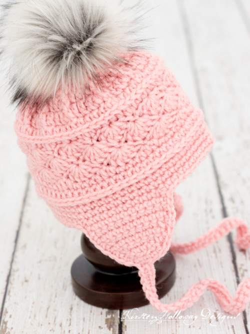 Side view of the La Vie en Rose Ski Hat, an easy free crochet pattern in 6 sizes for baby to adult!