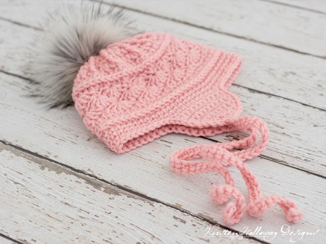Close-up of the ties on the La Vie en Rose ski hat crochet pattern