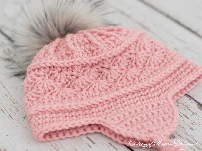 A close-up showing the texture on the La Vie en Rose crochet ski hat pattern.
