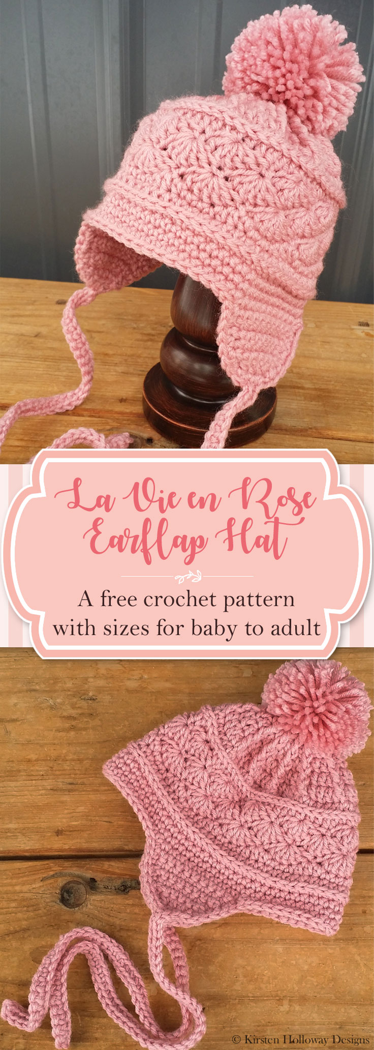 601c8f1923c Pattern - La Vie en Rose Earflap Hat - Kirsten Holloway Designs