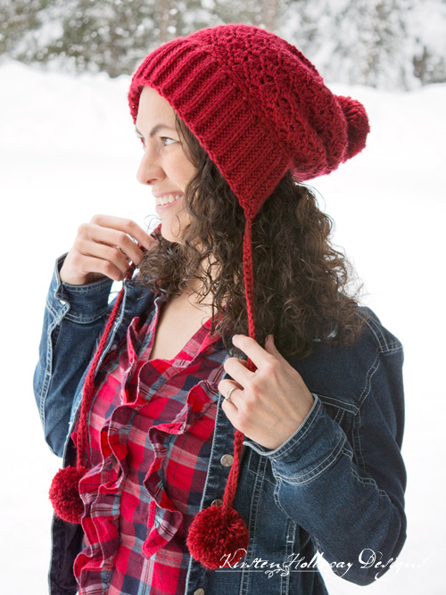 Cranberry Twist Slouchy Bonnet. A Ski hat for women and kids with pom-poms.