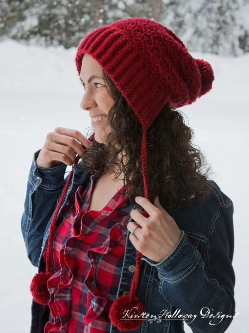 Free crochet pattern - Cranberry Twist Slouchy Bonnet for women and children