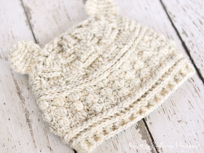 Bear hugs baby beanie crochet pattern. Size 0-3 mos, 6-12 mos, and toddler.