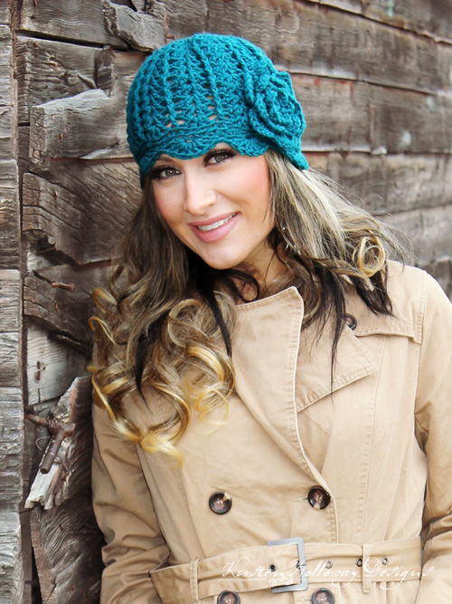 "The Cover Story Cloche add-on brings ruffles and a flower to the already stylish ""Newsboy"" crochet hat pattern from Cre8tion Crochet!"