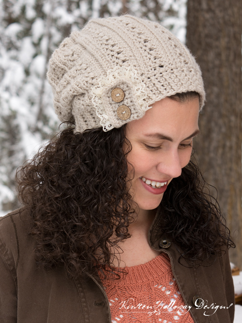 Crochet this delicate, and beautiful Primrose and Proper Slouch Hat for yourself or a friend. Lace and button accents are optional, but definitely make this piece unique!