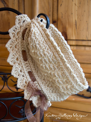 Ribbons and Grace crochet neck warmer, by itself