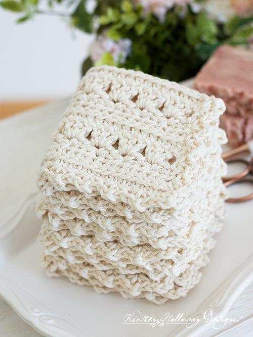 A stack of pretty crochet washcloths, or spa cloths.