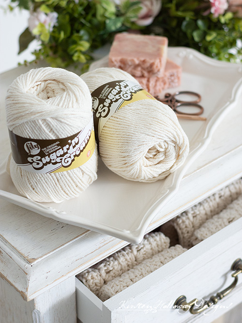 Cotton yarn for crocheting an easy dishcloth or spa cloth pattern. You decide which way this design will be used!