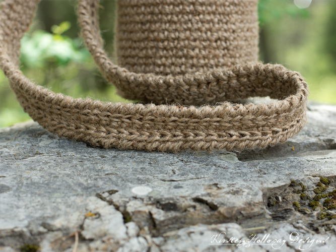 Canteen Carrier water bottle holder crocheted from jute twine. Easy crochet pattern.