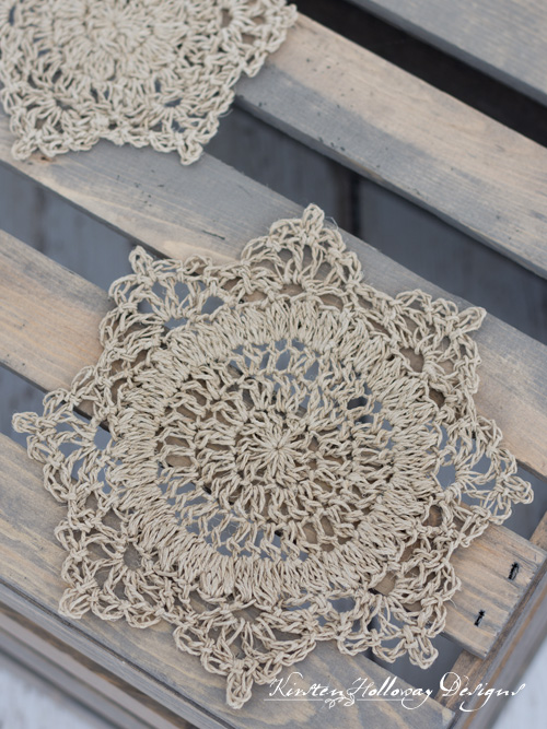 Rustic crochet doilies made with hemp twine.