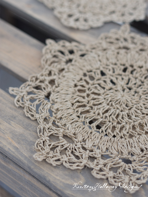 Larger hemp crochet doily for candy dishes or other small bowls.
