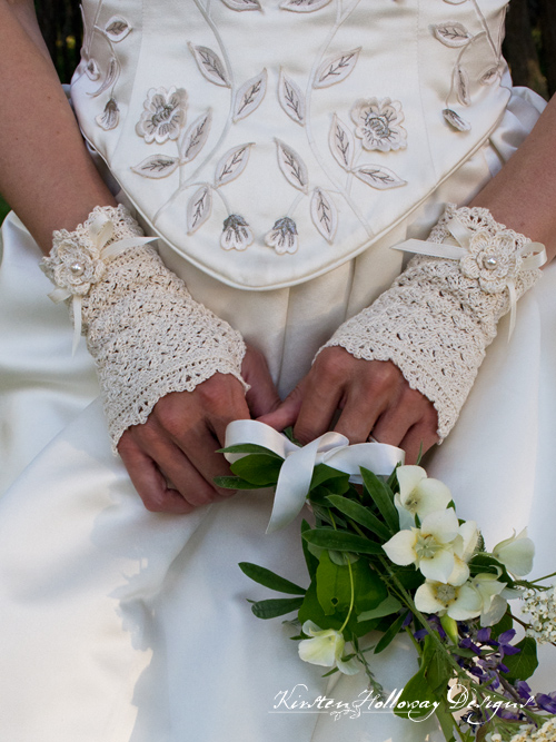 Crochet a set of beautiful bridal lace fingerless wedding gloves with this free pattern