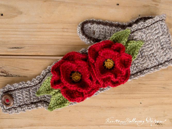 Flat image of free crochet pattern for poppy flower headband, using the basket stitch.
