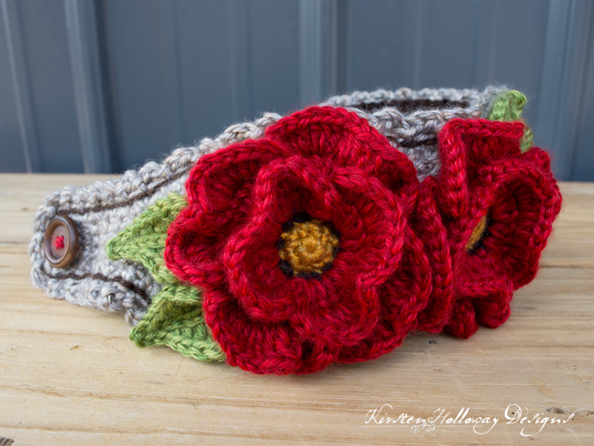 Closeup of free crochet pattern for poppy flower headband, using the basket stitch.