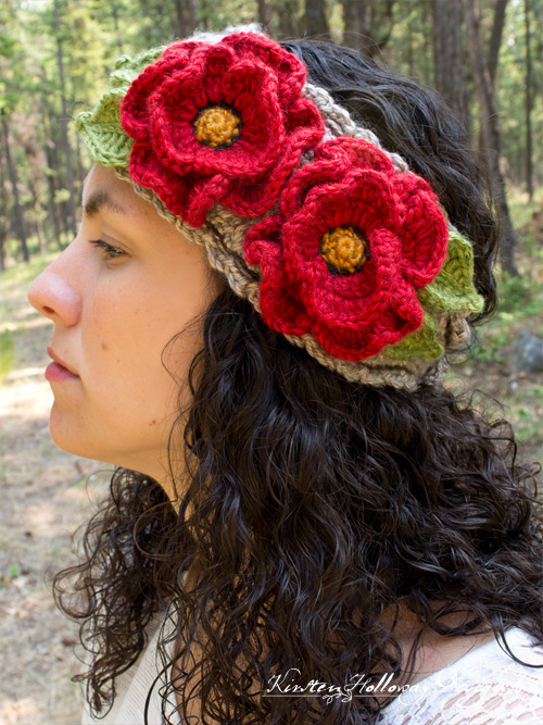 Free crochet pattern for poppy flower headband, using the basket stitch.
