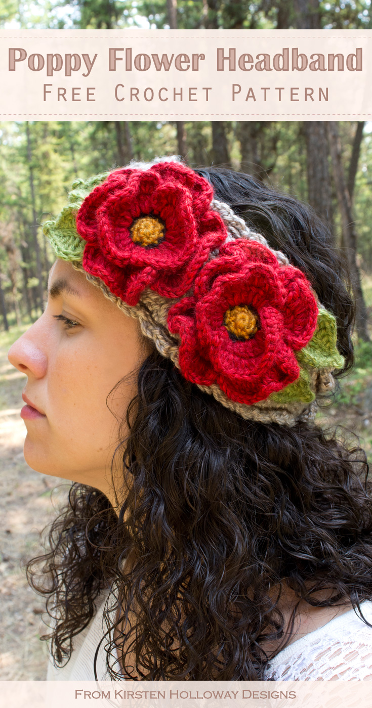 Basket Full Of Poppies Free Crochet Headband Pattern With Flowers