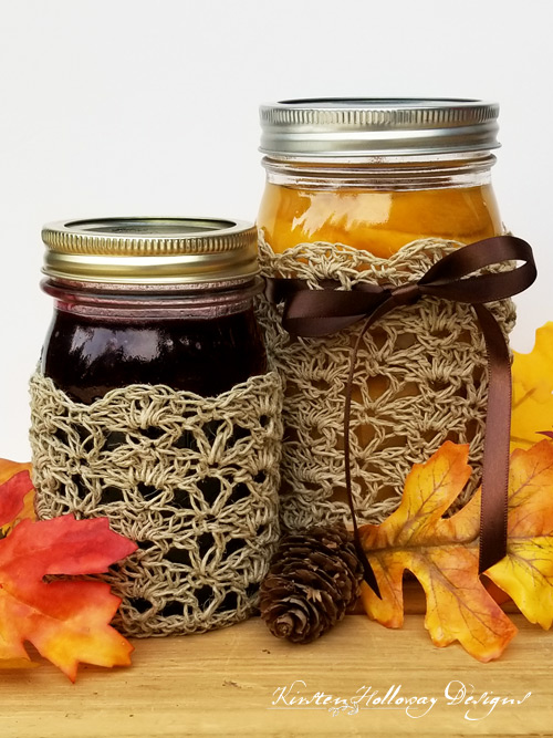 Rustic Elegance Canning Jar Cozy set, includes quart and pint sizes.