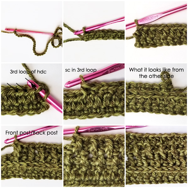 Wanderlust Scarf stitch tutorial part 1, HDC in 3rd loop, FPdc, BPdc.