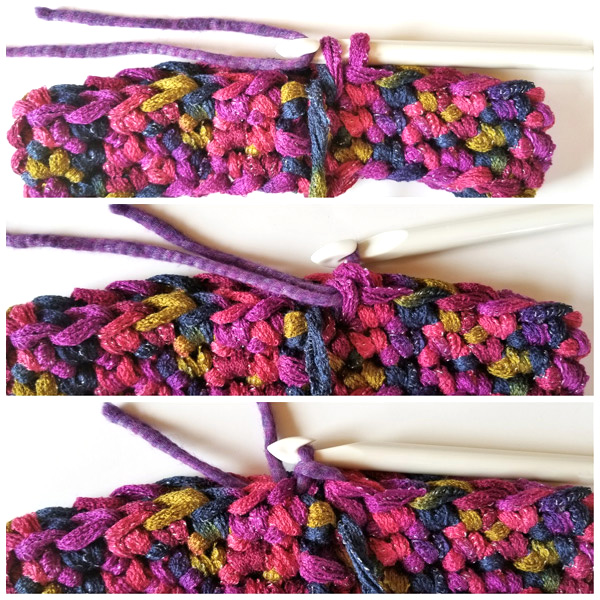 How to change colors in crochet. Step-by-step picture tutorial for crocheting a cowl for beginners.