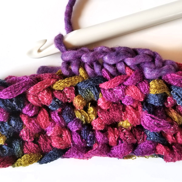How to crochet in the back loop only. Step-by-step picture tutorial for crocheting a cowl for beginners.