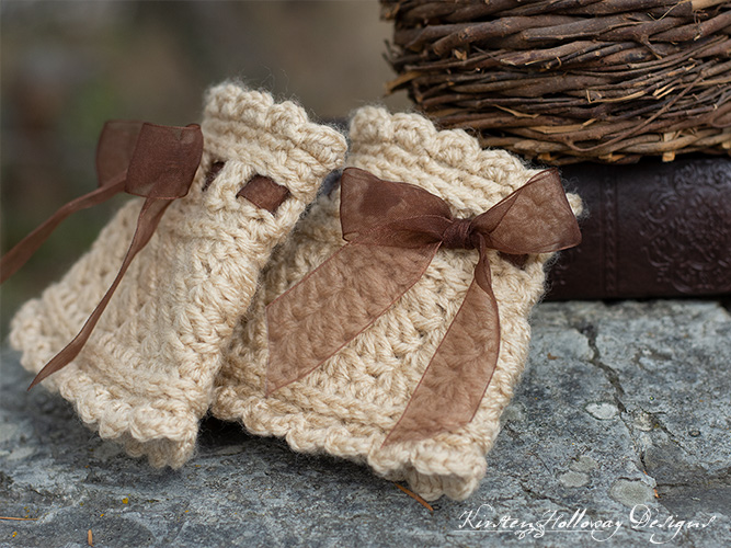 Close-up of the Victorian style wrist warmer crochet pattern with ribbons.