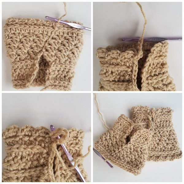 Ribbons & Grace Crochet Wristers Cuffs hand warmer Tutorial