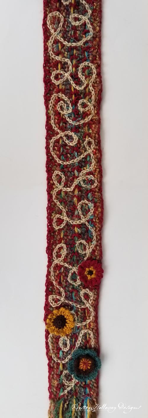 Art Yarn Scrappy Scarf CAL Crochet Weaving Tutorial One Of A Kind Pattern DIY Design Surface Slip Stitch