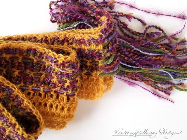 Art Yarn Scrappy Scarf CAL Crochet Weaving Tutorial One Of A Kind Pattern DIY Design