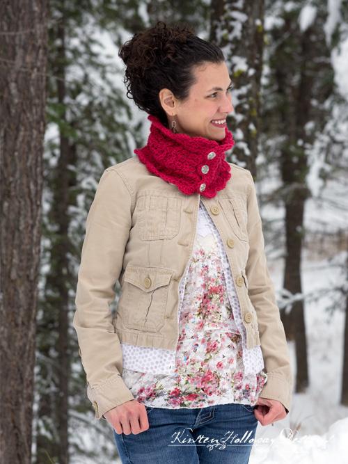 Beautiful DIY Victorian Blush Muffler Neck Warmer Cowl Infinity Scarf Crochet Pattern