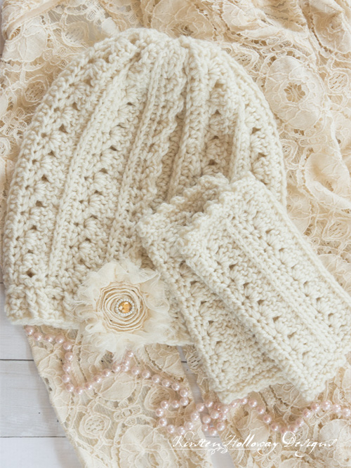 The gorgorgeous Primrose and Proper crochet slouch hat and fingerless gloves set in an off-white color.