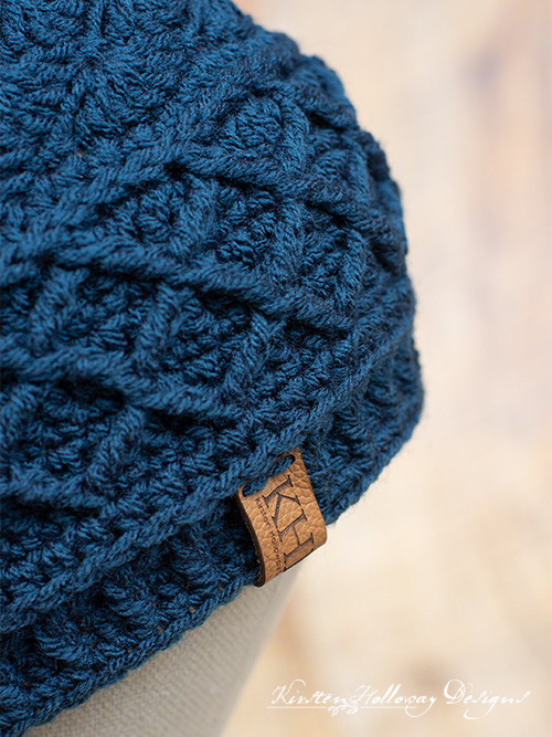 Snow Country beanie free crochet hat pattern. Close-up.