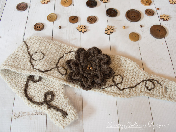 Waterlily Waltz Headband Knit Stitch Crochet Pattern Kirsten