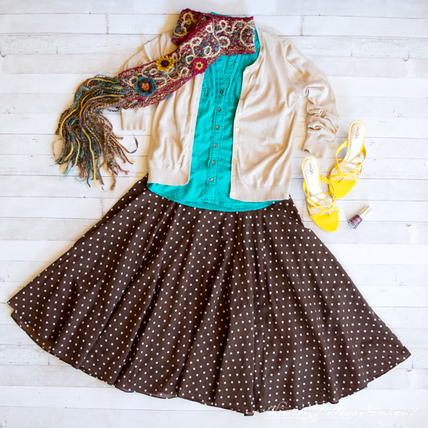 Fashion Feature Friday - Outfit Inspiration for your crocheted accessories, from Kirsten Holloway Designs. Featuring the Art 'n Soul Scrappy Scarf.