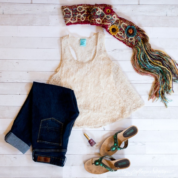 Fashion Feature Friday - Outfit Inspiration for your crocheted accessories, from Kirsten Holloway Designs. Featuring the Art 'n Soul Scrappy Scarf (summer look).