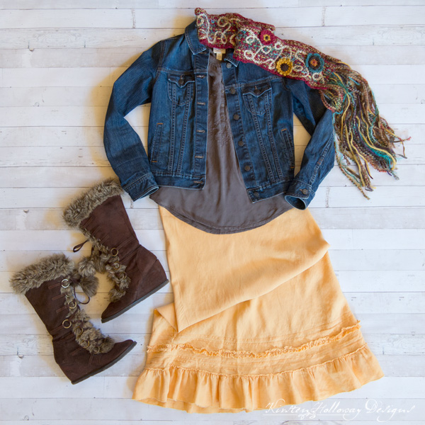 Fashion Feature Friday - Outfit Inspiration for your crocheted accessories, from Kirsten Holloway Designs. Featuring the Art 'n Soul Scrappy Scarf (winter look).