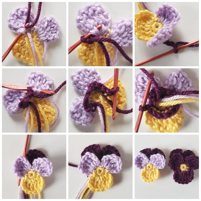 Johnny Jump-up crochet flower pattern instructions part 2