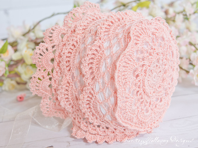 Free crochet lace baby bonnet pattern. Vintage style, heirloom quality baby gift. 3-6 months.