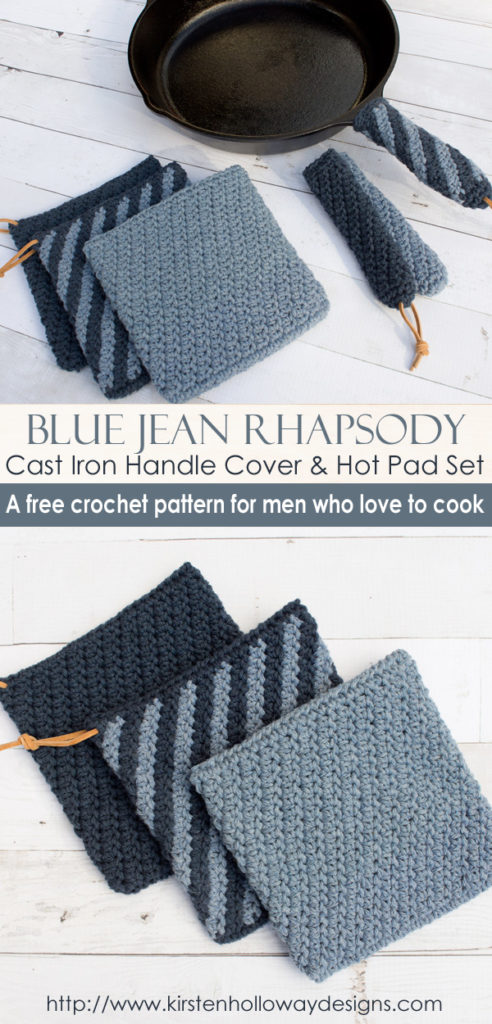 Blue Jean Rhapsody Crochet Cast Iron Handle Cover And Hot Pad Set