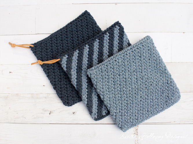Crochet a cast iron handle cover and double thick hot pad or postholder for the man in your life this Father's Day! This free, beginner friendly crochet pattern uses only 3 stitches.