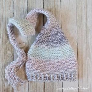 Sugar Plum Dreams Elf Hat, A Knit Look Crochet Pattern for Newborn Babies