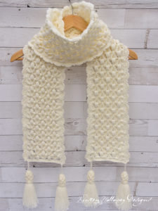 """Snowberries"", A Luxurious Winter Scarf Crochet Pattern, Holiday Stashdown 2018"